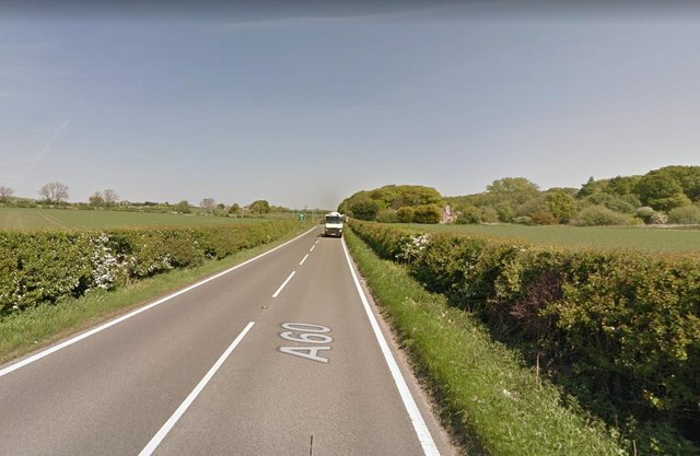 The A60 near to the scene of the accident