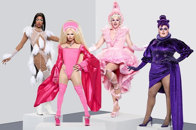 ayce, Bimini Bon Boulash, Ellie Diamond and Lawrence Chaney, finalists from RuPaul's Drag Race UK season two, pictured from left.