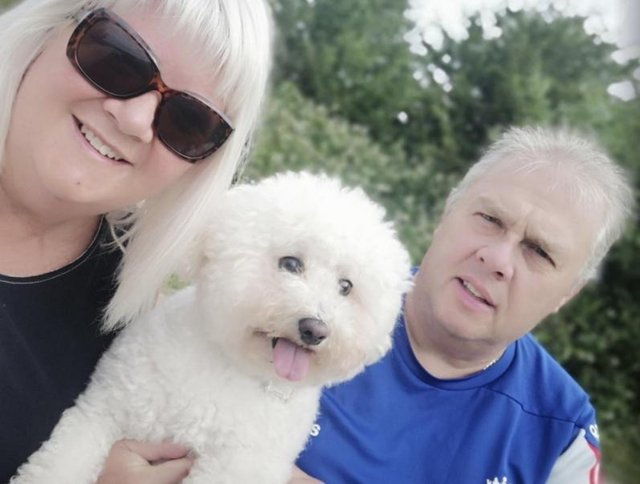 Kevin and Maxine Lomas with Bichon Frise Marley