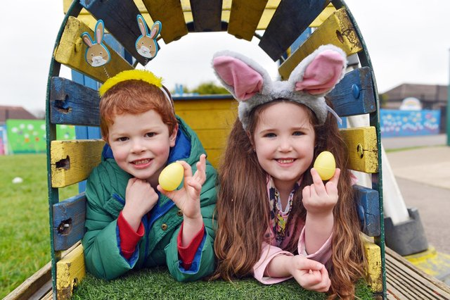 Year 1 class 3 pupils Evie Shaw and Henry Van Asch on the Easter egg hunt.
