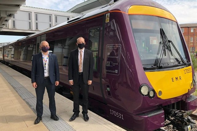 Will Rogers, East Midlands Railway chief executive, left, and rail minister Chris Heaton-Harris with the 'greener' train.