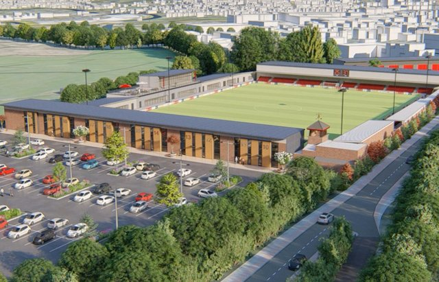 A 4G pitch is set to be installed at the New Manor Ground, with planning permission now being sought for further ground improvements. (Computer-generated image)
