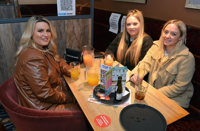 Pubs reopen indoors after lockdown.  Harriet Whiteley, Rosie Bowan and Chloe Watts at Chesterfield's Spa Lane Vaults.