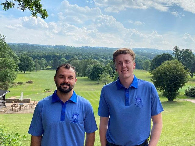 Chesterfield Golf Club members Bradley Rhodes (left) and Matthew Elks will represent England in an international competition at the Open Championship venue