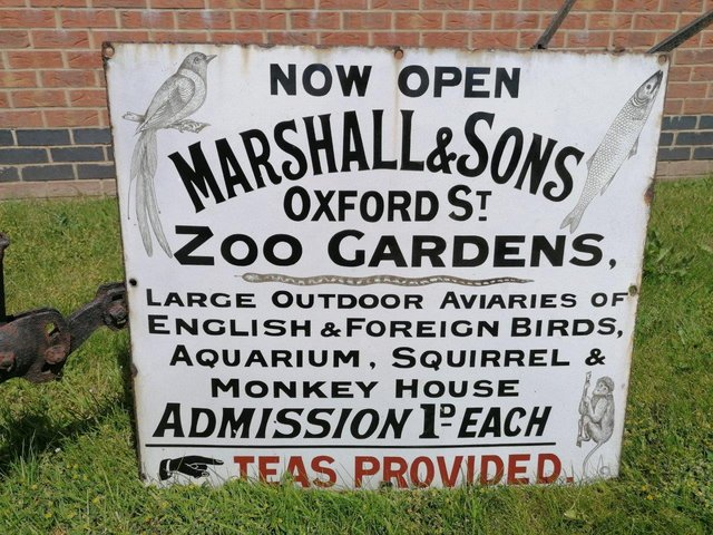 Marshall Zoo Sign is estimated to attract bids of up to £1,500 at auction on July 22.