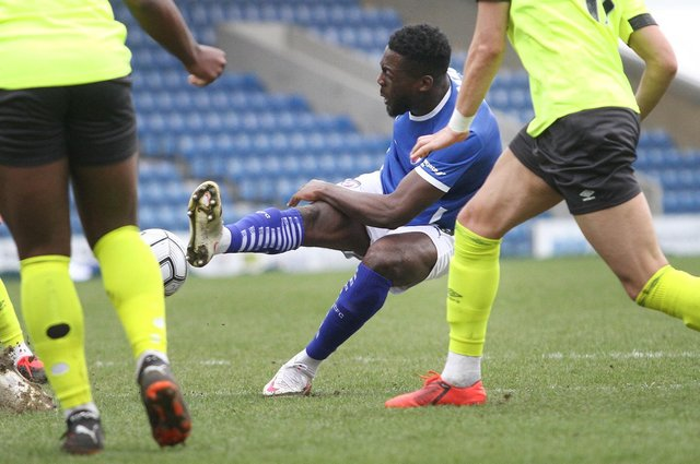 Chesterfield moved into the play-offs with a 1-0 win against Weymouth on Saturday. Pictured: Akwasi Asante.