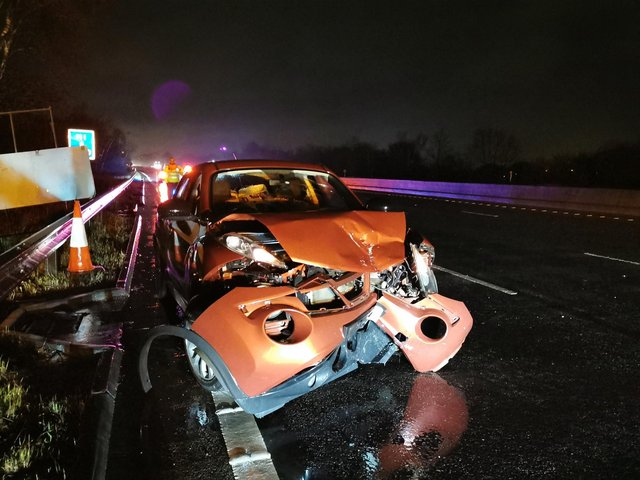 This picture posted on the @DerbyshireRPU Twitter account shows the mangled Nissan Juke.