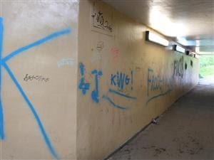 Graffiti in the underpass on Gosforth Lane. Image: Derbyshire police.