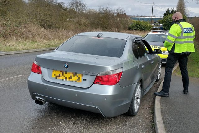 The BMW was clocked doing 70mph in a residential street