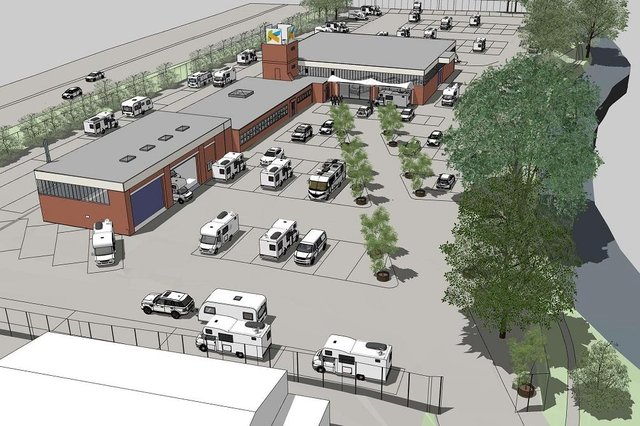 An artist's impression of the plans for a new motorhome sales centre in Chesterfield.