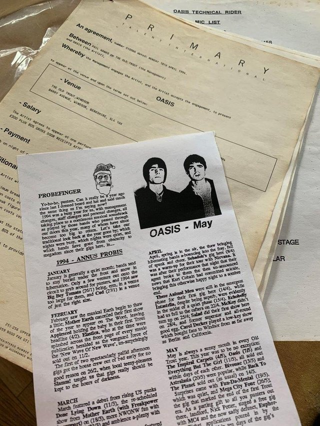 The early Oasis gig contract.