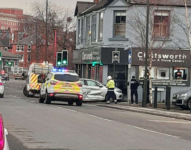Police were called to the crash on Chatsworth Road in Chesterfield on March 8.