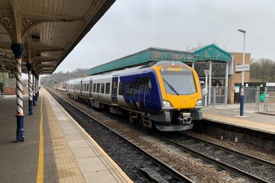 One of Northern's new CAF-built Class 195 trains at Chesterfield.