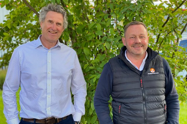 Shed Grounds Maintenance managing director Peter Botham with new business development manager Craig Clapperton.