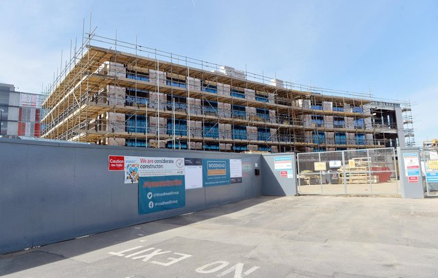 The new enterprise centre under construction on part of the Donut roundabout in Chesterfield.