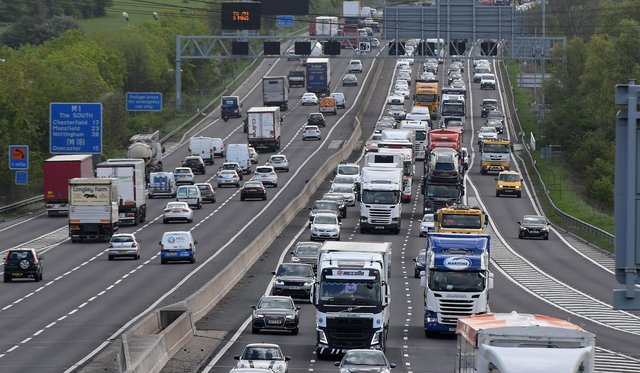 Traffic on the M1 is building before junction 28.