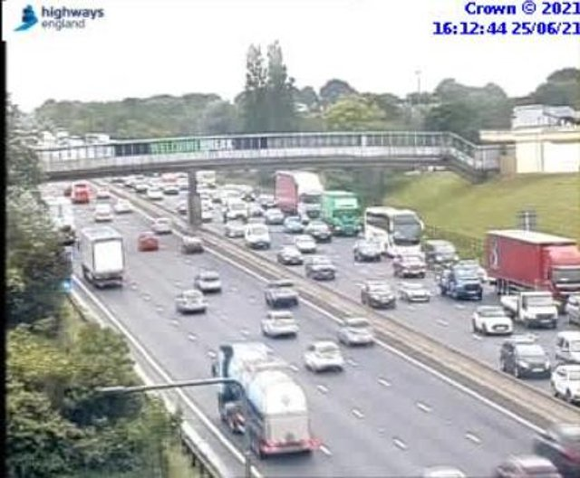 A broken down vehicle is causing delays on the M1 near Chesterfield