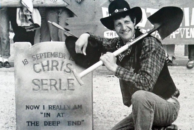 Chris Serle with his American Adventure tombstone.