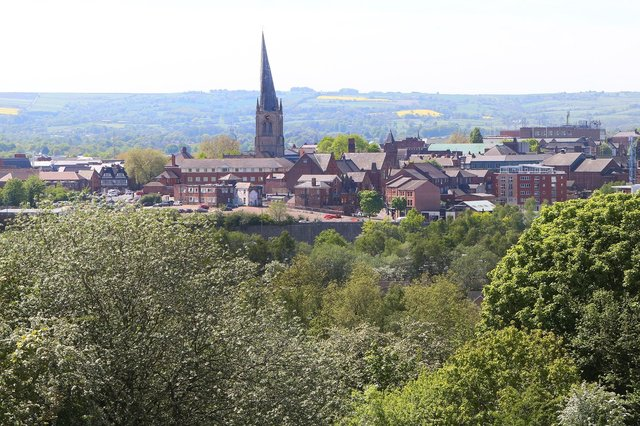 A view of Chesterfield's Crooked Spire.