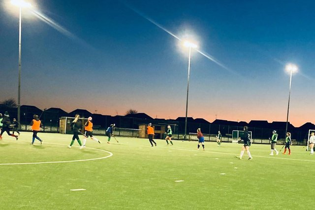 Chesterfield's adult ladies hockey squad are pictured back in training. Photo: Chesterfield HC.