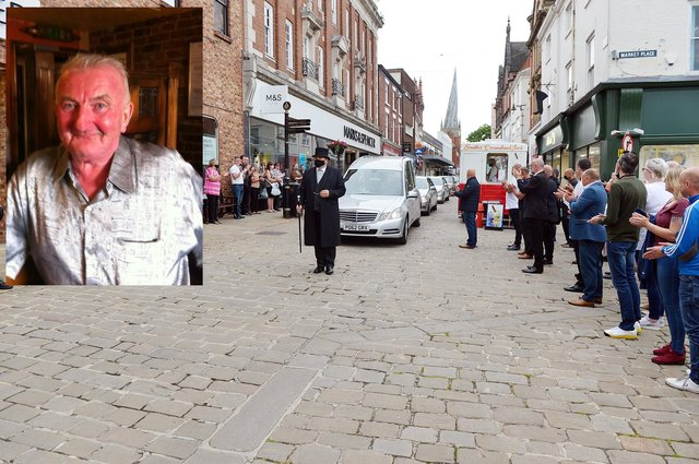Don Hollingworth's funeral cortege passes the market. Inset, the late Don Hollingworth.