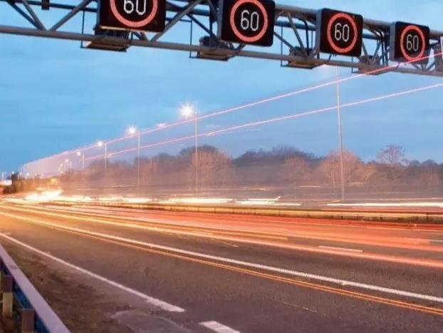 Two lanes are closed on the M1 near Derbyshire.