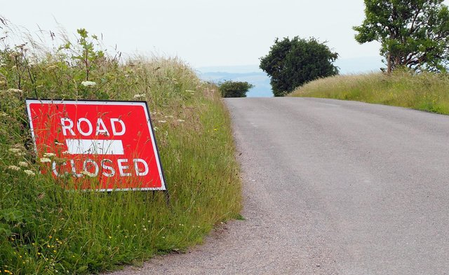 Chesterfield Road, near Beeley, is closed due to a landslip.