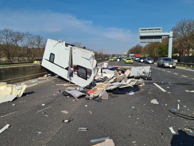Image released by South Yorkshire Police shows the aftermath of a crash on the M1 near Meadowhall.