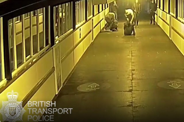 A video shows two Chesterfield men viciously attacking two brothers at York train station. Credit: British Transport Police.