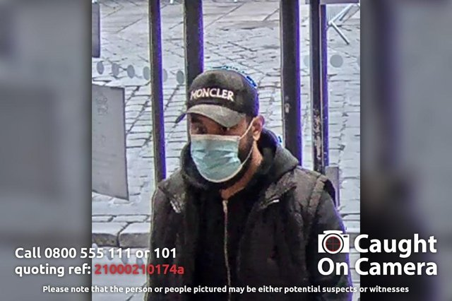 A man wearing a Moncler hat is wanted on suspicion of theft at Boots in Chesterfield on March 19. Crime reference number: 21000210174a.