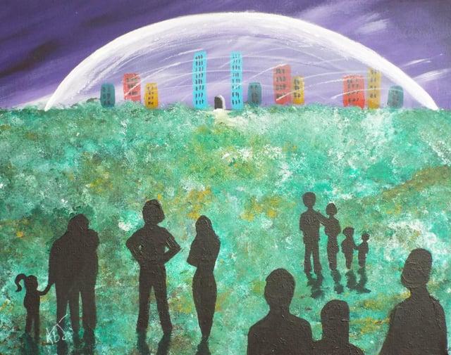 Local artist Amanda Johnson explores the idea of bubbles and domes.