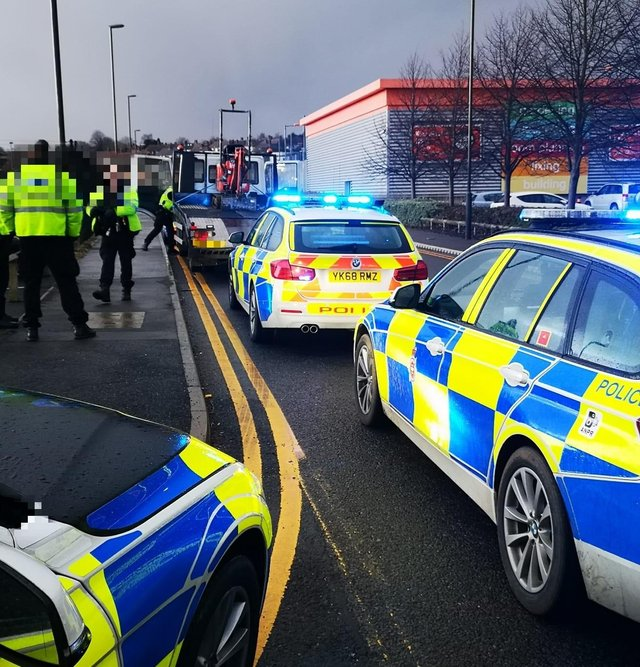 Officers stop the vehicle on the A617 in Chesterfield