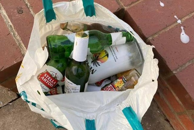 Some of the bottles of booze seized in Clay Cross. Image: Clay Cross Safer Neighbourhood Team.