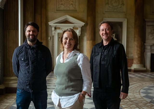Sarah McLeod, chief executive to Wentworth Woodhouse Preservation Trust, with film-maker and director James Lockey and script-reader and screenwriter Paul Hutchinson (right).