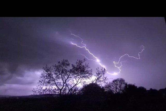 Resident Lewis Preece captured this shocking image of lightning over Derbyshire last night