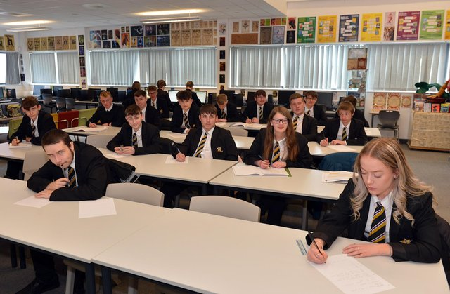 Heritage High School, Clowne. Computer science with Year 11 students.