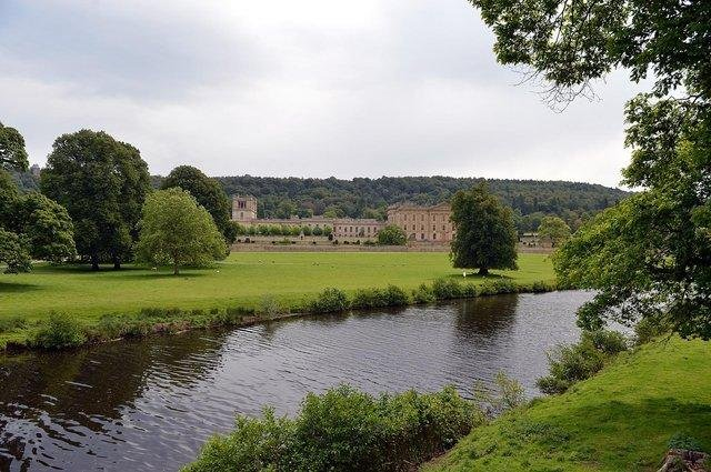 Chatsworth is surrounded by lush green parkland.