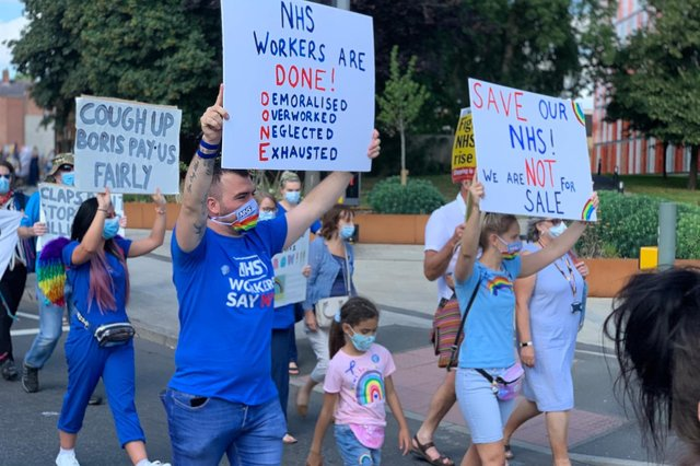 Matthew Tacey and others on a march in Chesterfield last summer.