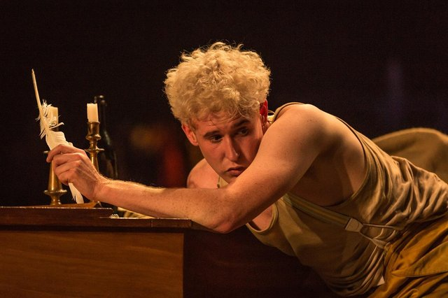 Adam Gillen in Amadeus, part of the National Theatre At Home series. Photo by Marc Brenner.