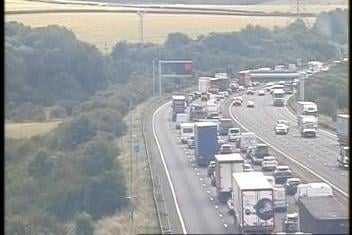 There are long queues of traffic on the M1 southbound near Chesterfield after a vehicle broke down. Credit: Highways England.