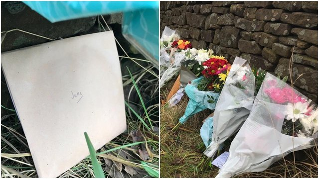 Flowers and a card addressed to 'Jake' laid at the scene of the fatal crash on Hathersage Road in Dore.