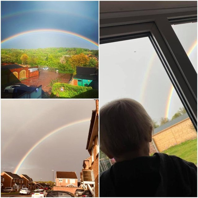 Derbyshire Times' readers have been sharing their colourful rainbow pictures after a rare triple rainbow was spotted over the county on Monday