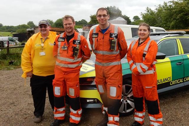 Fundraiser Richard Fletcher with air ambulance crew members