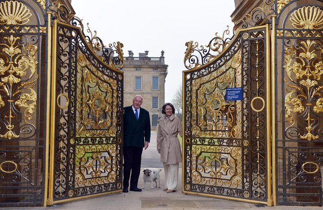 Chatsworth House reopening with the Duke and Duchess of Devonshire. Opening the gates to welcome visitors to the house.