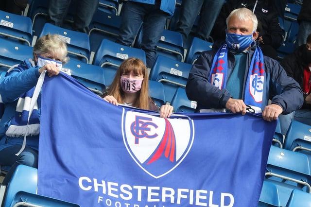Chesterfield fans pictured against Dagenham and Redbridge last season.