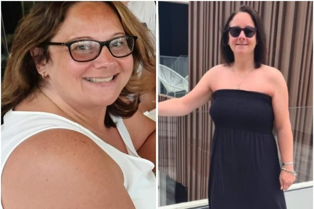 The before and after photos that tell the tale of Gemma Dring's weight loss. On the left, she is on holiday in October 2019, weighing about 14st 3lb, and on the right, she is pictured on holiday a year later.