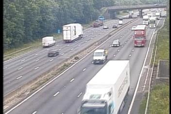 A vehicle has broken down on the M1 northbound between Junction 28 and 29. Credit: Highways England.