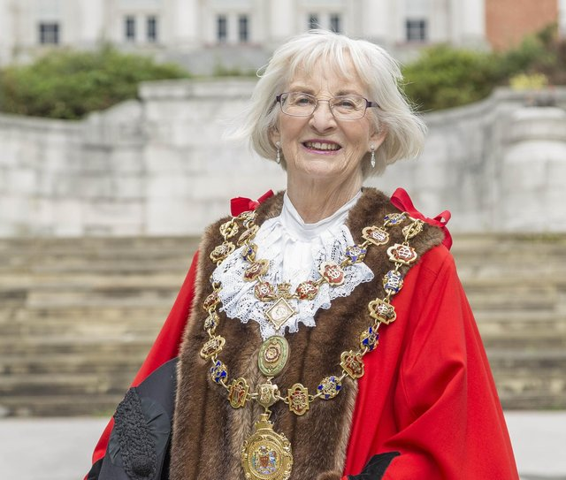 Chesterfield's mayor Coun Glenys Falconer has urged people to support the town's retail and hospitality businesses.