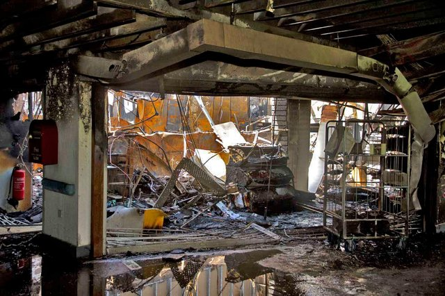 Interior of main entrance of Chesterfield Royal Hospital after the fire on June 25, 2011