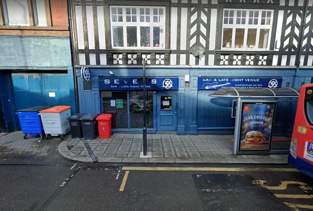 Sevens bar, Chesterfield. Where the chaotic scenes played out. Photo: Google